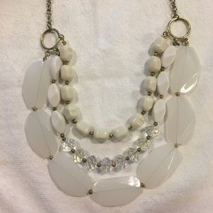 Jewelry - White and Clear Stone Statement Necklace